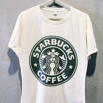 STARBUCKS T-Shirt Classic Coffee Tee Shirt Girl Women T Shirts Off White TShirt Size S