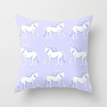 Lavender and White Unicorns Pattern Throw Pillow by Artist Abigail