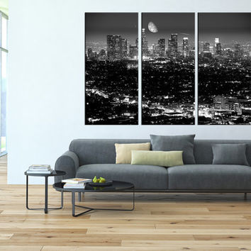 Los Angeles Skyline wall art Canvas Print, extra large wall art, canvas gallery art, los angeles wall art, Los Angeles art print canvas t90