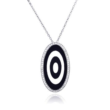 .925 Sterling Silver Rhodium Oval Evil Eye Cubic Zirconia Necklace 18 Inches