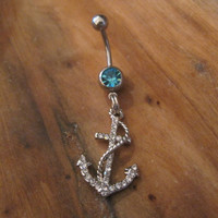 Belly Button Ring - Body Jewelry -Silver Rhinestone Anchor With Rope With Lt Blue Gem Stone Belly Button Ring