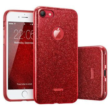 "iPhone 7 Case, ESR Glitter Sparkle Bling Case with Three Layer Structure [Slim Fit] for Apple 4.7"" iPhone 7 (2016 Release)(Red)"