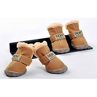 Beige Ivory Teddy Fur Lined Waterproof Winter Snow Pet Dog Boots
