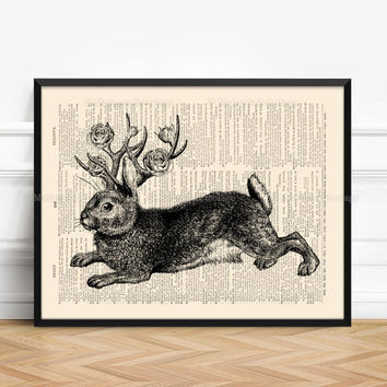 Rabbit Poster, Playroom Print Gift, Deer Antler Poster, Sister Poster Gift, Rose Antler Flowers, Surreal Girl Gift, Nursery Print Rabbit 403