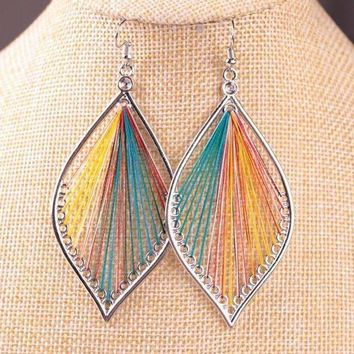 Global Beauty Silk Thread String Art Drop Earrings In Three Colors