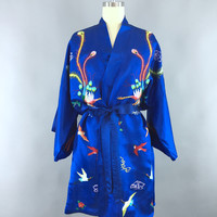 Vintage Embroidered Robe / Birds Peacock Embroidery – ThisBlueBird - Modern Vintage