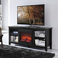 2-in-1 Black Wood TV Stand with Electric Fireplace Space Heater