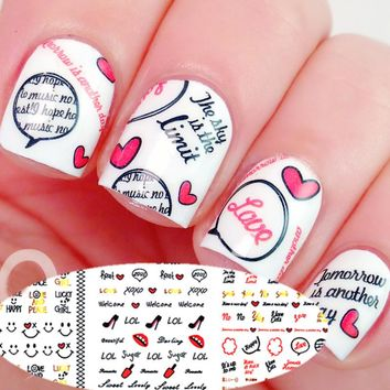 3 Sheet Smile Face Nail Water Decals Bowknot Lip Love Heart Cloud Design Print Nail Art Stickers