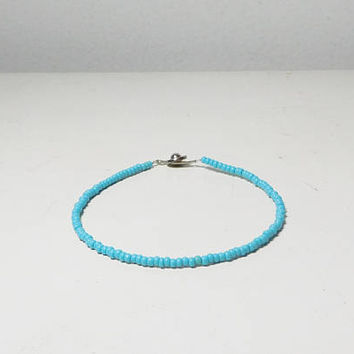 Seed Bead Turquoise Blue Color Anklet Mens Bracelet Beach Hippie Bohemian Small Beads Southwest Cowgirl Surfer Ankle Bracelets Unisex Beaded