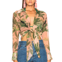 ADRIANA DEGREAS Toucan Tie Top in Rose Salmon | FWRD