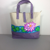 Waterproof Lined Canvas Tote Bag with Hand Painted Water Lily