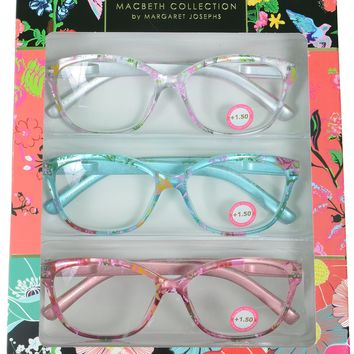 Macbeth Collection 3 Pairs Reading Glasses Floral Print Readers +1.50
