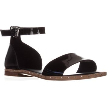 Franco Sarto Venice Ankle Strap Flat Sandals, Black Metallic, 8.5 US / 38.5 EU