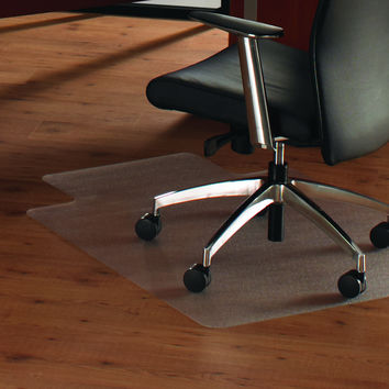 Cleartex Anti-Slip UnoMat Clear Chair mat for Polished or High Gloss Hard Floors, Very Low Pile Carpets and Carpet Tiles, Rectangular with Front Lipped Area for Under Desk Protection