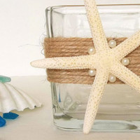 Beach Decor Starfish Candle Holder w faux pearls, votive tealight vase holder natural starfish jute, beach wedding shower decor or catchall