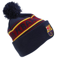 FC Barcelona Official Text Winter Beanie Hat (One Size) (Navy/Red/Yellow)