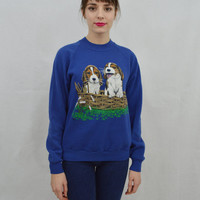 Puppy Sweatshirt Soft Grunge Hipster Dog MED 90s Cute Womens Vintage Clothing Royal Blue Sweater Animal Jumper Beagle Puppies 1990s