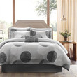 King size Modern 9-Piece Comforter Set with Grey Circles