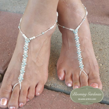 Wedding Barefoot Sandals, Something Blue, Bottomless Sandals, Beach Wedding Shoes, Crystal Montee Beaded Barefoot Sandals, Boho Wedding