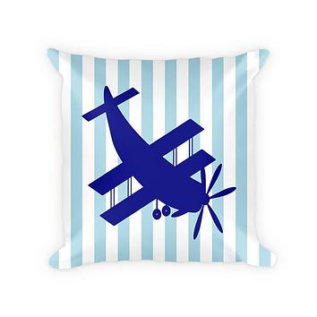 Biplane Aircraft Children's Cotton/Poly Throw Pillow