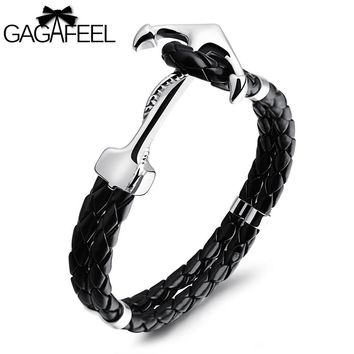 GAGAFEEL  Male Cowhide Leather Bracelets Men Punk Bracelet Jewelry Anchor Rope Chain Charm Bangle Stainless Steel Double Layer
