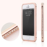 Toch TM Crystal Rhinestone Bling Metal Bumper Frame Case For iPhone 6 4.7 inch Gold