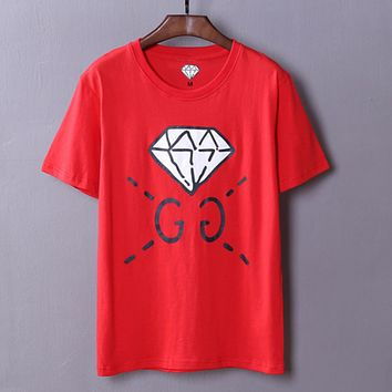 GUCCI spring and summer new catwalk custom models men's diamond GC short sleeve t-shirt youth shirt Red