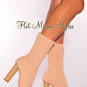 Nude Elastic Stacked Wooden High Heel Boots