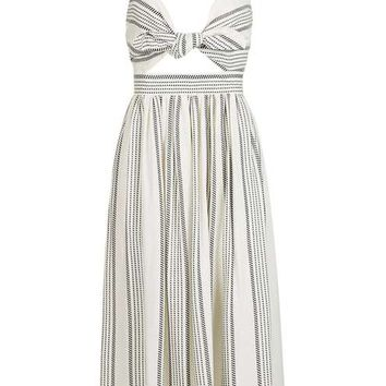 Rope Stripe Bow Midi Dress - Dresses - Clothing