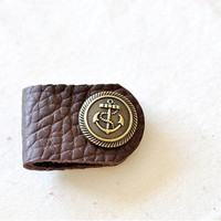Customized Leather Earpiece Organizer - Anchor