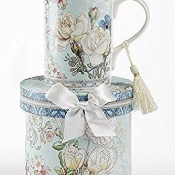 Delton Products Blue Camellia Porcelain Tea/Coffee Mug in Gift Box, 4.3""