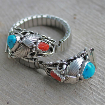 Signed NA Sterling Coral Turquoise Watch RB by SeventhChild