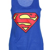 Superman Casual Vest Top / Blue - Womens Clothing Sale, Womens Fashion, Cheap Clothes Online | Miss Rebel