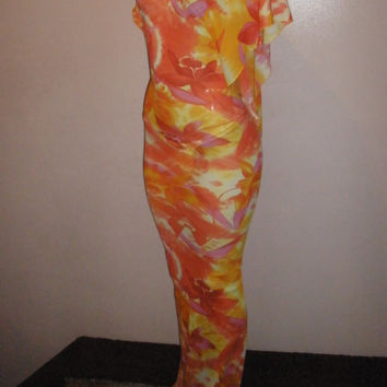 Fabulous Long Bright Floral Sheer Swimsuit Cover Up Size Small/Meduim (Wear 3 Different Ways) (This is the Last One In this Fabric)