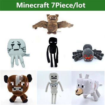 7Pcs/lot Minecraft Toys Creeper Cartoon Game Minecraft stuffed Plush Toys Skeleton Wolf enderman Cow Ghost Spider Bat kids Toys