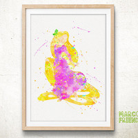 Princess Tangled, Rapunzel - Watercolor, Art Print, Home Decor, Watercolor Print, Disney Poster
