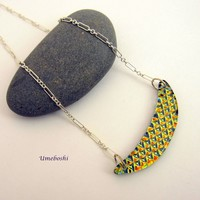 Sparkling Patterned Crescent Dichroic Glass Necklace w Silver Chain