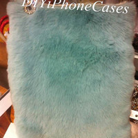 Real Leather Rabbit Furry Plush iPad mini Case, Mint Green Fur iPad Cases, iPad 2 Case, iPad 3 Case, iPad 4 Case, Rabbit Fur iPad mini Case