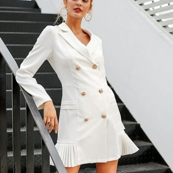 Elegant Ruffle Double Breasted Office Dress