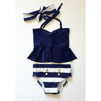 GLANE Brief 2017 New Kids Baby Girls Bikini Suit Navy Swimsuit Swimwear Bathing Swimming Clothes Two piece suit Beach Summer