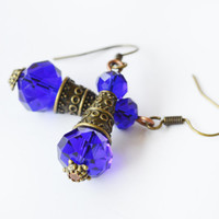 Bronze blue crystal earrings