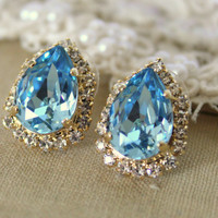 Blue topaz Crystal big teardrop stud earring - 14k plated gold post earrings real swarovski rhinestones .
