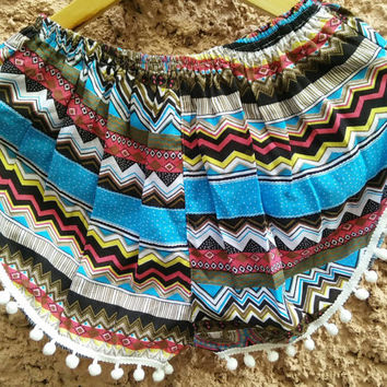 Pom pom shorts Boho stripes Chevron fabric pattern print festival outfit Styles for Summer holiday Beach clothing Women girls Fashion blue