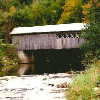 VERMONT Comstock Covered Bridge Montgomery Vermont in Fall Blank Photo Note Card