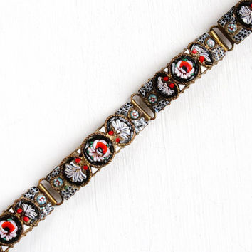 Vintage Brass Micro Mosaic Bracelet - Antique 1920s Art Deco Flower Panel Colorful Glass Tesserae Italian Jewelry Made in Fap Italy