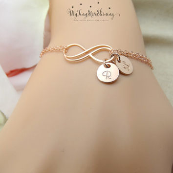 Personalized Infinity Bracelet Personalized Jewelry Infinity Bracelet with Initial Bracelet Mothers Bracelet Bridesmaids gift ROSE GOLD