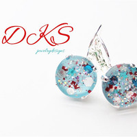 Peppermint Blizzard, Hand Painted Glass Earrings, 12mm, Silver, Confetti, Christmas, Holiday Jewelry, DKSJewelrydesigns, FREE SHIPPING