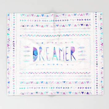 DREAMER Throw Blanket by Bianca Green