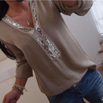 Women's Classy V Neck Sequined Long Sleeve Tunic Top