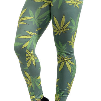 Green Cannabis Leggings Design 544